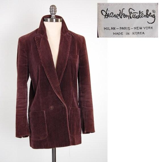 Vintage 70s merlot Corduroy DIANE VON FURSTENBERG blazer jacket / Medium