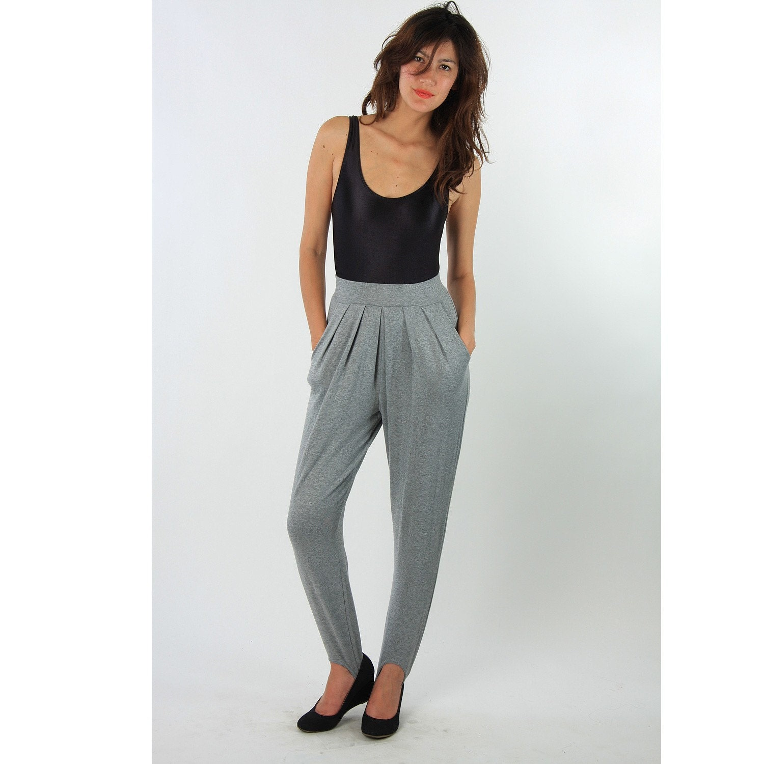 Summer Sale 80s Grey Stretchy High Waist Stirrup Pants