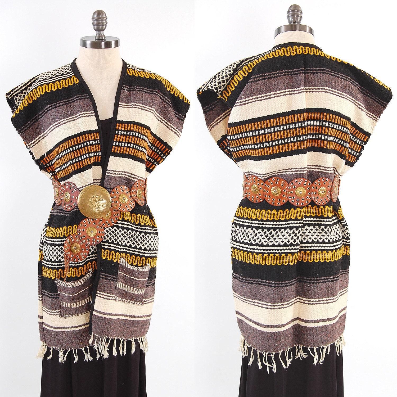 Vintage MEXICAN Blanket Bohemian Vest Poncho