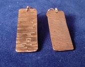 Textured copper earrings, hand made, dangle earrings