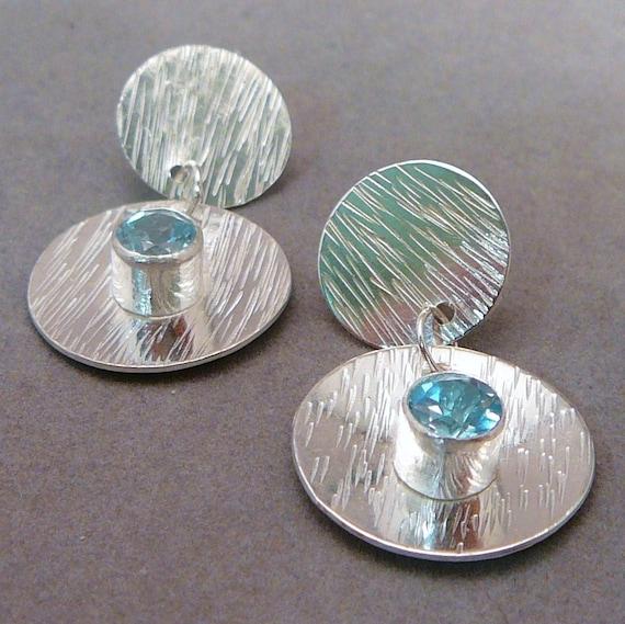 Blue topaz and sterling silver dangle earrings, handmade
