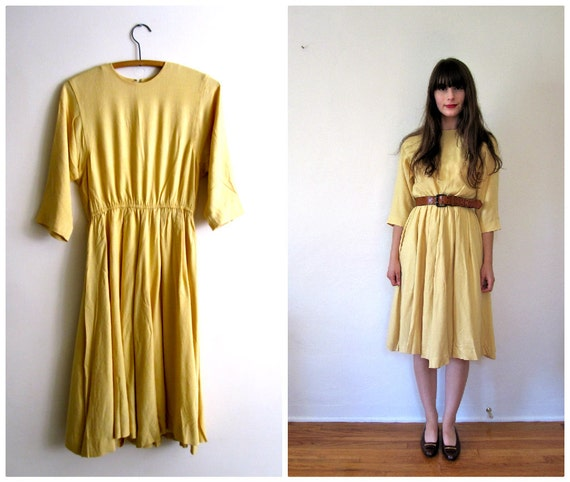 Vintage Yellow Day Dress // xs - s