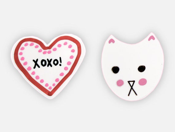 Kawaii Magnet - Cat Magnets, Cubicle Décor, Cute Fridge Magnets, Heart Cat, Valentine