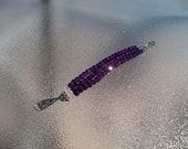 AAA  Amethyst February birthstone  deep, dark, gorgeous gemstones  in a triple row bracelet by Mama's got A Bead Box on Etsy