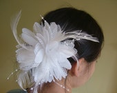 White Feather Flower Hair Piece/Corsage -- Bridal Hair Clip or Special Occasion