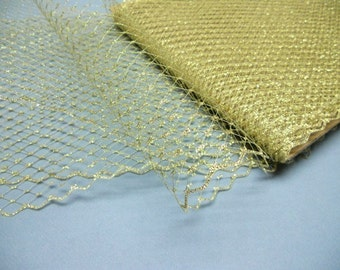 Weekly Promos -- 1 Yard 9 inches wide Metallic Gold Birdcage Russian/French Veiling