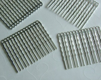 New Low Price -- 6 pieces of Silver Plated 14 Holes Hair Comb - 44 x 36 mm