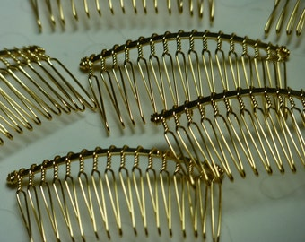 6 pieces of Gold Plated 16 teeth Hair Combs - 62 x 35 mm