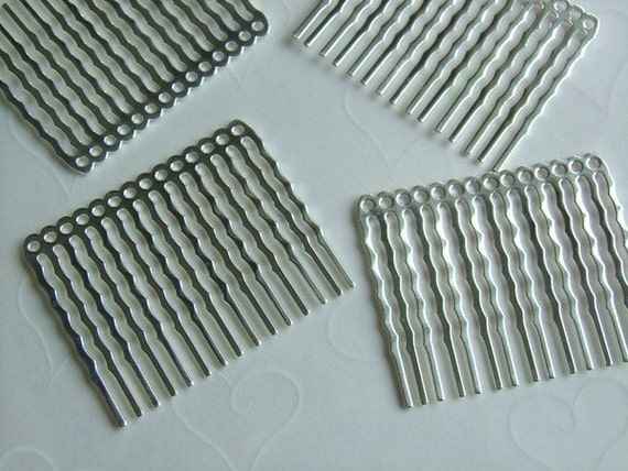 Reserve for fairystitchfactory only -- 20 pieces of Silver Plated 14 Holes Hair Comb - 44 x 36 mm