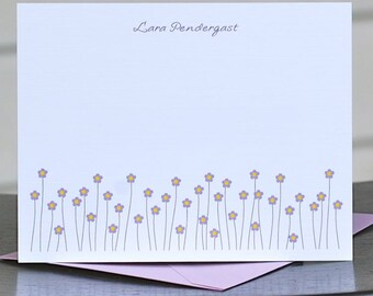 Floral Note Cards, Thank You Notes, Flower Note Cards, Thank You Notes, Flowers, Personalized Note Cards, Flower Stationery, Stationary