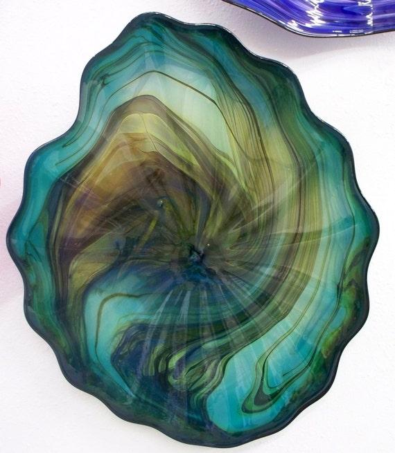 Beautiful Hand Blown Glass Art   Marbled Platter Bowl Blue Green 2589 ONEIL