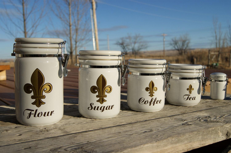Bone Ceramic Kitchen Canister Set Coffee Tea Sugar Flour Jars