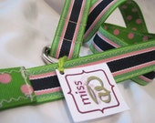 Kids Children's Toddlers Reversible Belt in Blue, Green and Pink Stripe/Polka Dot