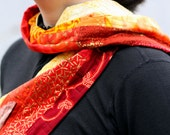Quilted scarf - red orange yellow patchwork scarf with crushed velvet back