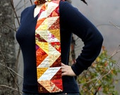 Patchwork scarf with crushed velvet reverse - quilted chevron scarf in warm autumn colors- 'Watson'
