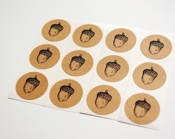 Acorn Envelope Seal Stickers - Brown Kraft Envelope Seals