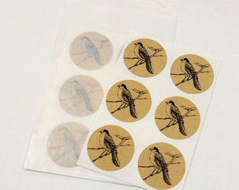 Bird Envelope Seal Stickers in Brown Kraft - Kraft Envelope Seals, Round 1 Inch Envelope Seals, Bird Stickers
