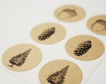 Envelope Seal Stickers - Woodland Set, Pine Tree, Acorn, Pine Cone, Brown Kraft Stickers, Rustic Wedding, Holiday Cards