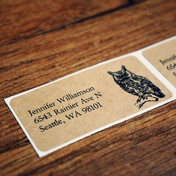 Custom Mailing Address Labels - Owl, One Sheet of 24 Labels