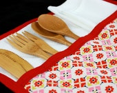 Urban Picnic Roll-up in Red and Pink Retro Apples by Nstarstudio