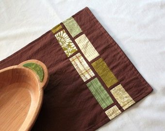 Table Runner in Chocolate and Green by Nstarstudio