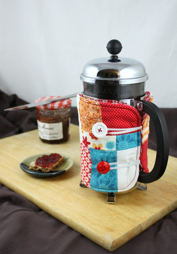 French Press Coffee Cozy in Orange, Red and Blue  by Nstarstudio