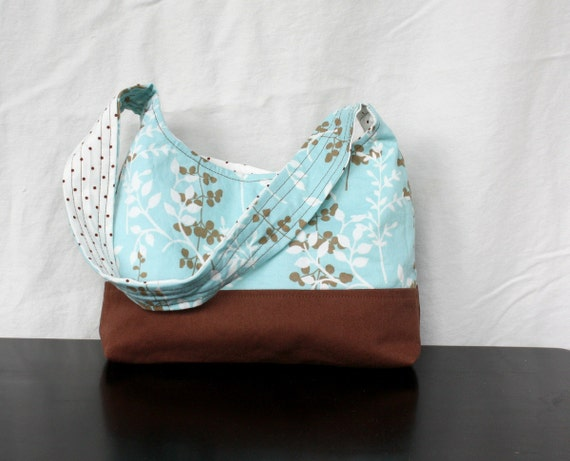The Harriet Bag by Nstarstudio - Small Shoulder Purse in Light Blue, White and Brown Floral Cotton