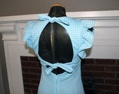 Cute Ruffle Sleeve and Keyhole Back Gingham Vintage Dress