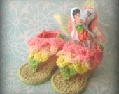 Crocheted Baby Fairy Sandals with Rainbow Colors and Fairy Applique