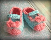 Cotton Candy Booties - Aqua Blue and Pink Coral Crocheted Ballet Slipper Style for Baby Girl