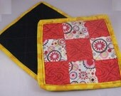 Red and Yellow Paisley Pot Holders, one pair - - - FREE Domestic Shipping