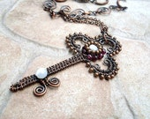 Key Pendant Necklace With Garnets In Copper