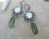 prasiolite earrings with mother of pearl in sterling silver