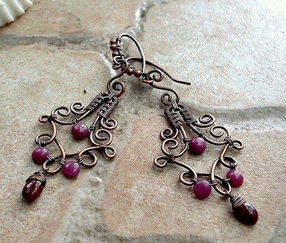 Earrings with Ruby in Copper, Raspberry Delight