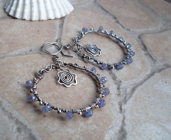 Tanzanite Hoop Earrings in Sterling Silver,