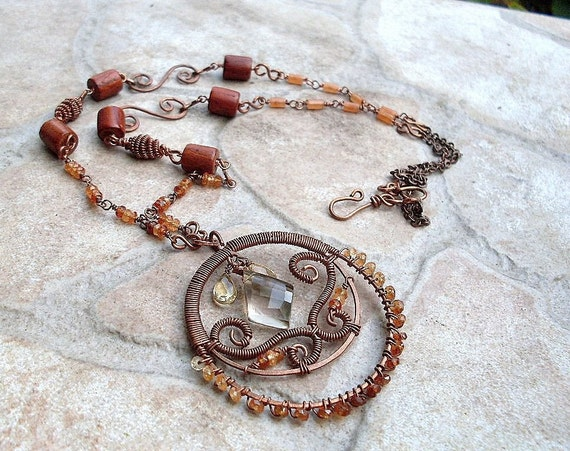 necklace with hessonite garnet and smoky quartz in copper