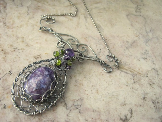 Charoite Necklace in Sterling Silver with Amethyst, Vesuvianite and Moonstone