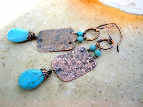 copper hammered earrings with turquoise