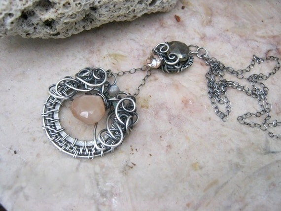 moonstone necklace with topaz in sterling silver