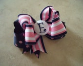 Navy and Pink Preppy Stripe Personalized Custom Boutique Bow