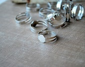 200 Silver Plated Adjustable Ring Blank Base with Flat Pad