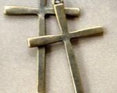 4 pieces Antique Bronze Cross Charms - 61mm x 36mm