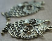 4 pieces Antique Bronze Large Owl Charm - 58mm x 37mm