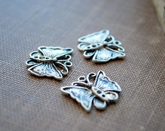 12 pieces Antique Silver Butterfly Charms - 18mm