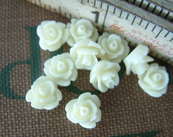 10 Teeny Tiny Rose Flower Flat Back Plastic Cabochons - Pale Yellow - 8.5mm