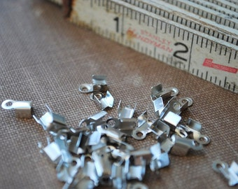 30 pieces Silver Color Ribbon Crimp End Cap - Small 9mm