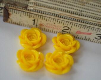 8 Rose Flower Flat Back Plastic Cabochons - Yellow - 18mm