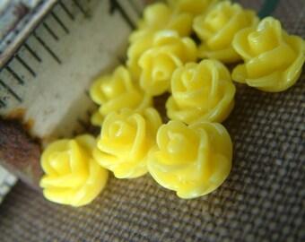 10 Teeny Tiny Rose Flower Flat Back Plastic Cabochons - Yellow - 8.5mm