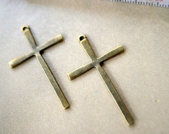 48 pieces Antique Bronze Cross Charms - 61mm x 36mm