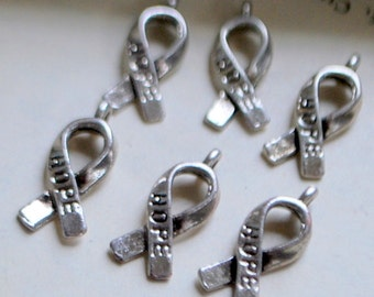 12 pieces Antique Hope Ribbon Charms - 18mm